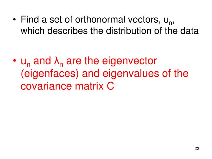 Find a set of orthonormal vectors, u