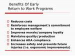 benefits of early return to work programs