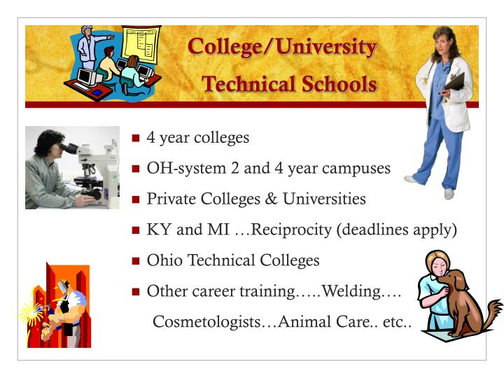 College university technical schools