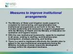 measures to improve institutional arrangements