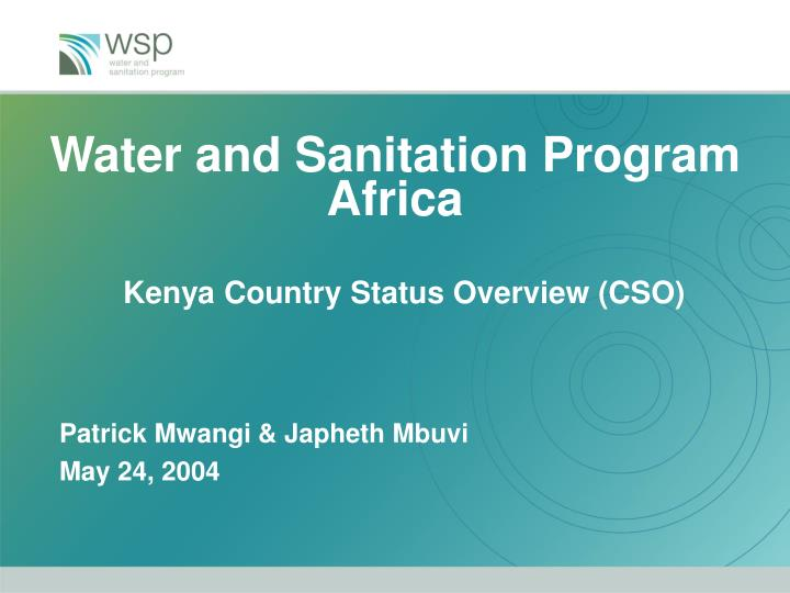 water and sanitation program africa kenya country status overview cso