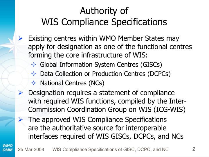 Authority of wis compliance specifications