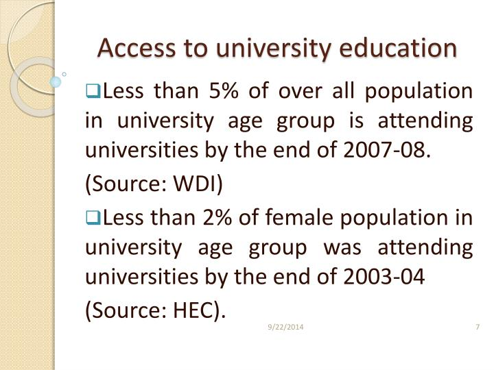 Access to university education