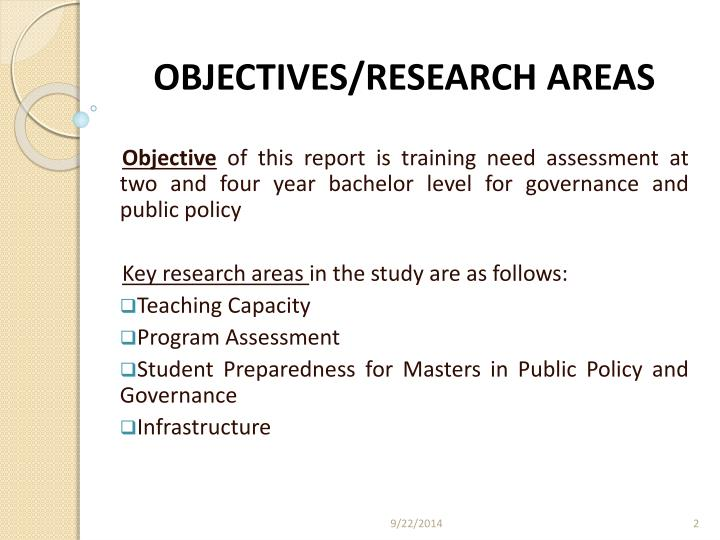 Objectives research areas