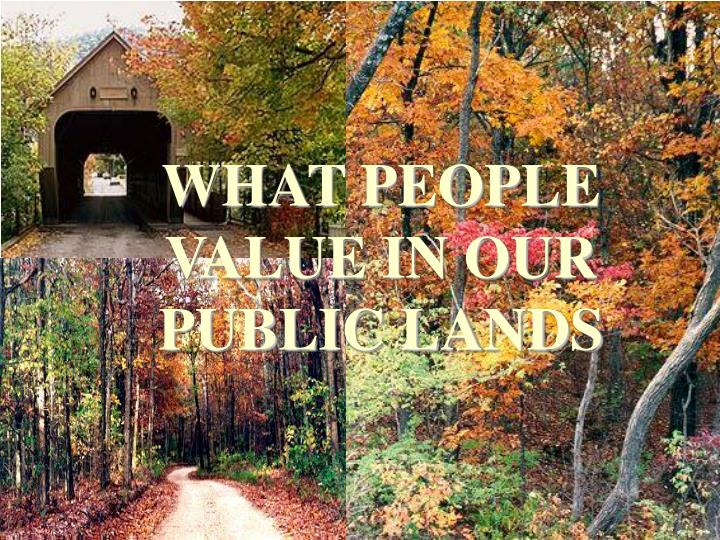 WHAT PEOPLE VALUE IN OUR PUBLIC LANDS