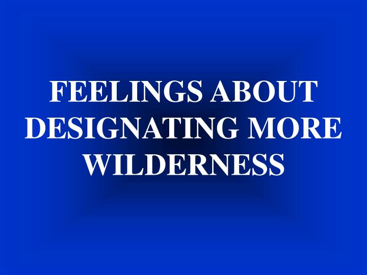FEELINGS ABOUT DESIGNATING MORE WILDERNESS