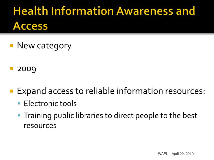 Health information awareness and access
