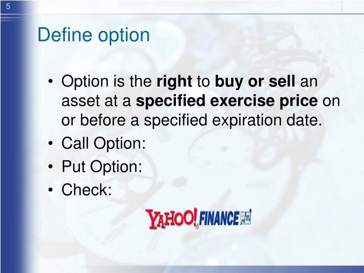 Define option