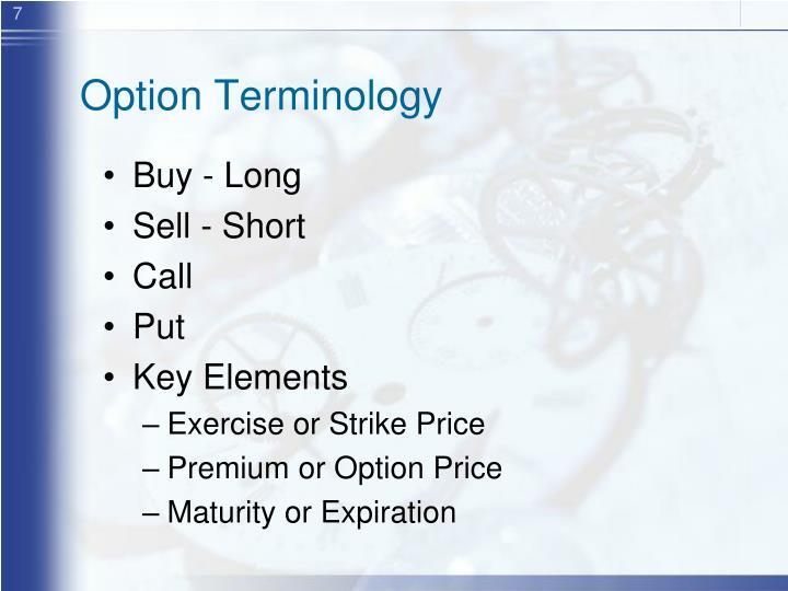 Option Terminology