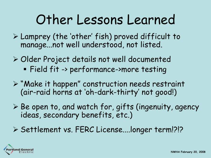 Other Lessons Learned