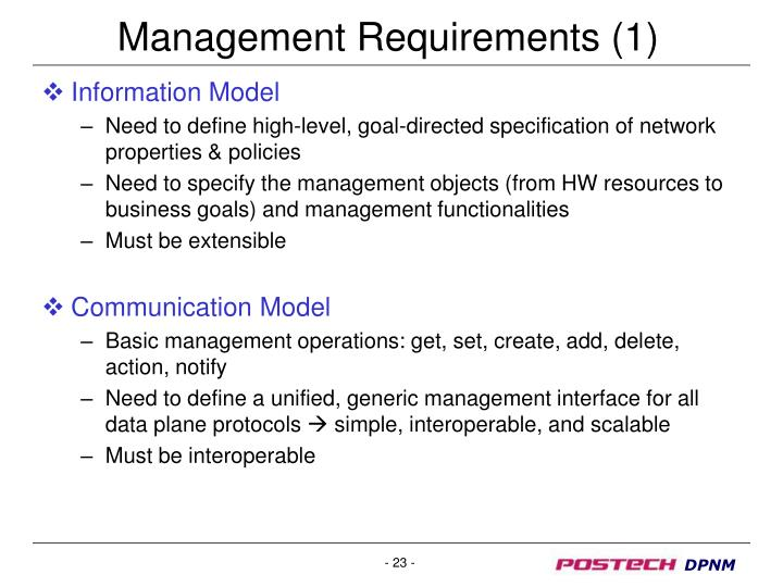 Management Requirements (1)