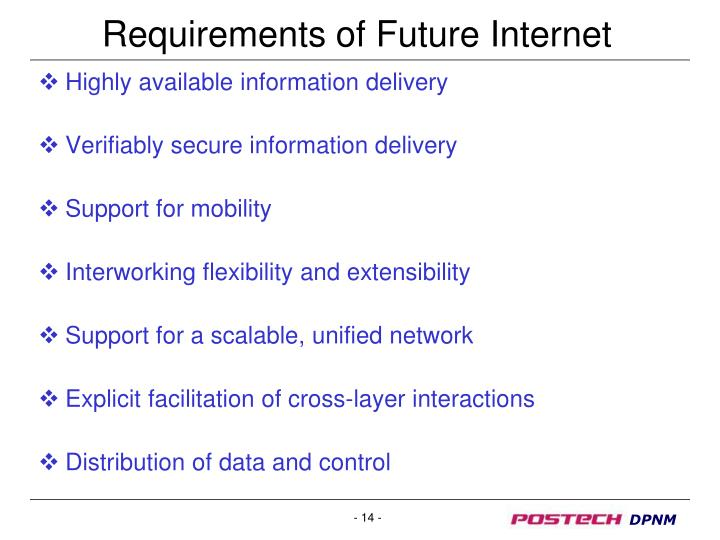 Requirements of Future Internet