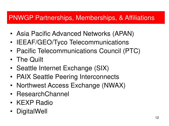 PNWGP Partnerships, Memberships, & Affiliations