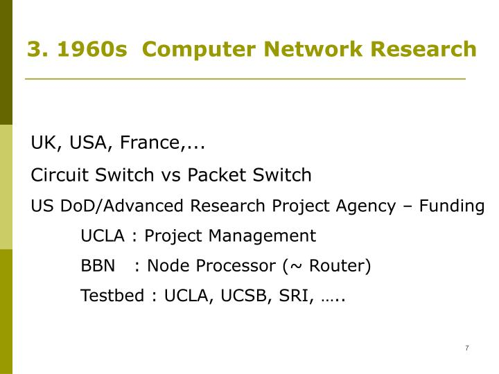 3. 1960s  Computer Network Research