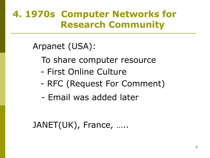 4. 1970s  Computer Networks for