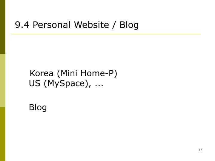 9.4 Personal Website / Blog