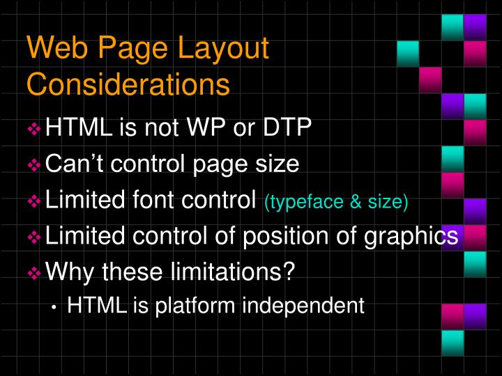 Web Page Layout Considerations