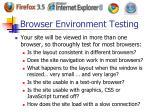 browser environment testing