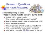 research questions to have answered