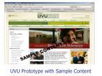 uvu prototype with sample content