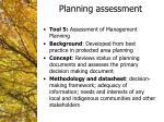 planning assessment