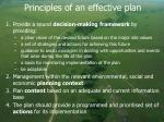 principles of an effective plan