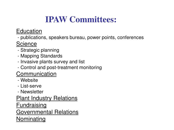 IPAW Committees: