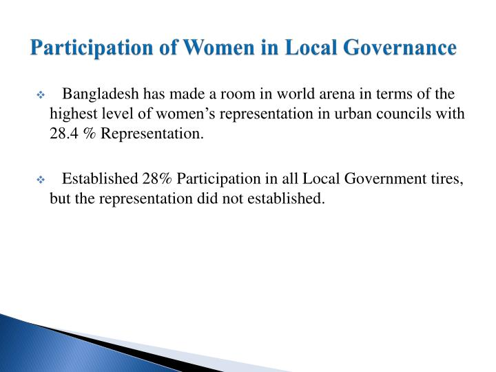 Participation of Women in Local Governance