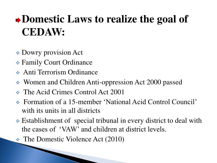 Domestic Laws to realize the goal of CEDAW: