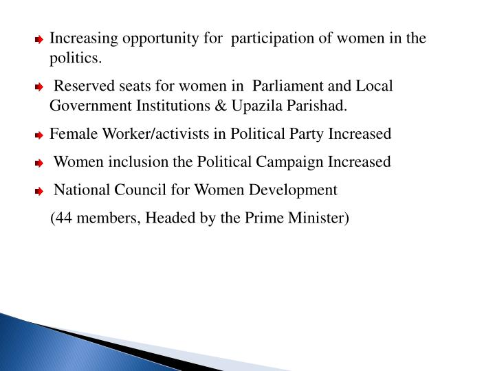 Increasing opportunity for  participation of women in the politics.