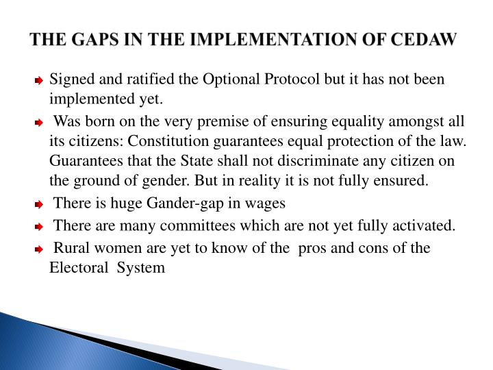 THE GAPS IN THE IMPLEMENTATION OF CEDAW