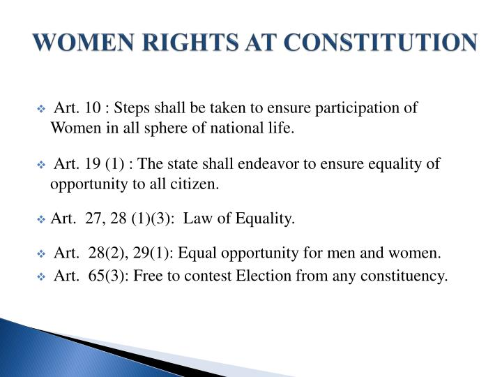 Women rights at constitution