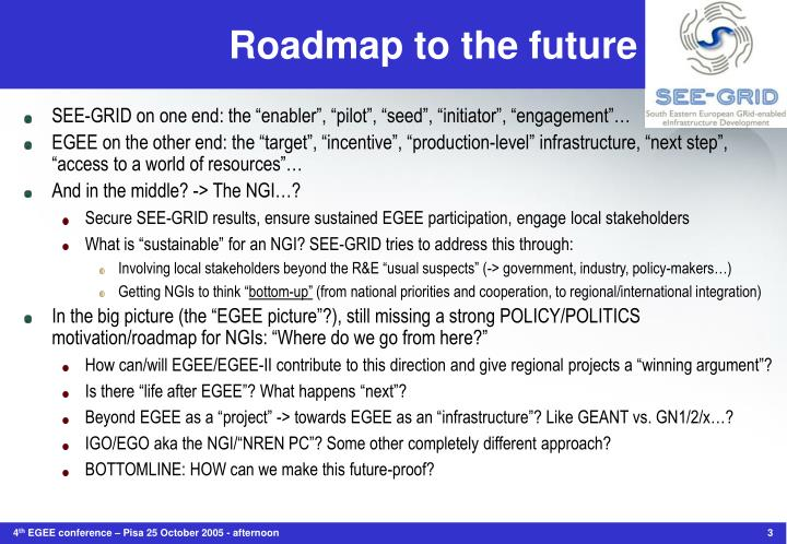 Roadmap to the future