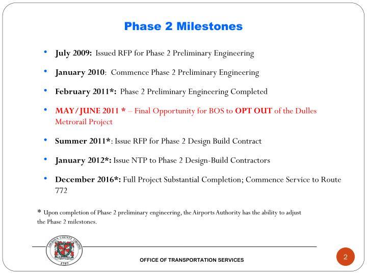 Phase 2 milestones
