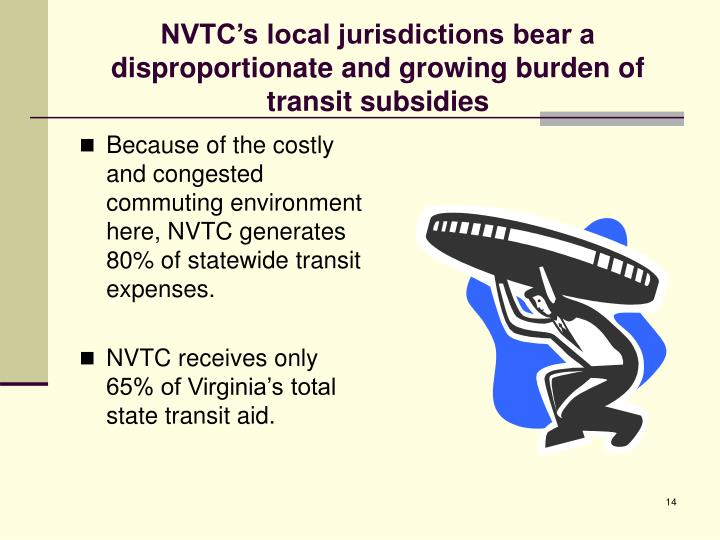 NVTC's local jurisdictions bear a disproportionate and growing burden of transit subsidies