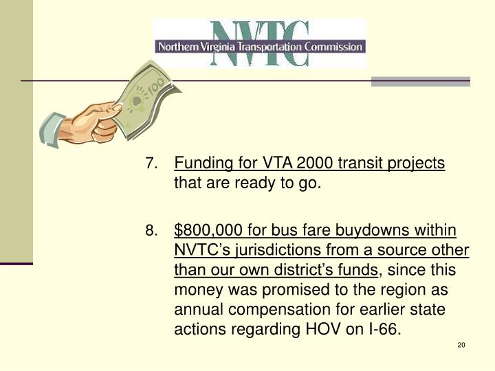 Funding for VTA 2000 transit projects