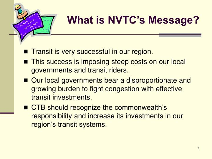 What is NVTC's Message?