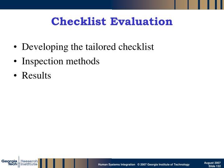 Checklist Evaluation