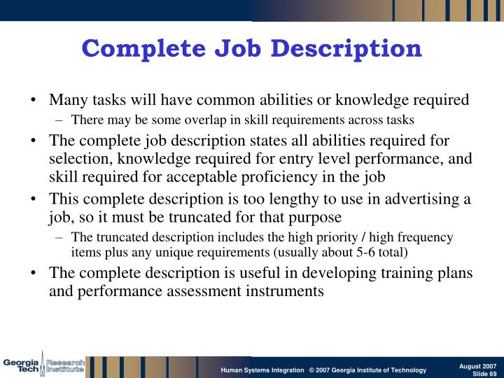 Complete Job Description