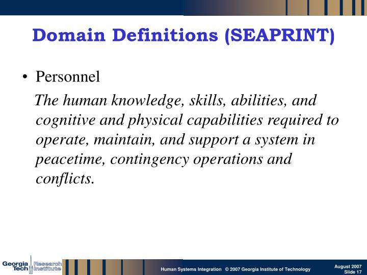 Domain Definitions (SEAPRINT)