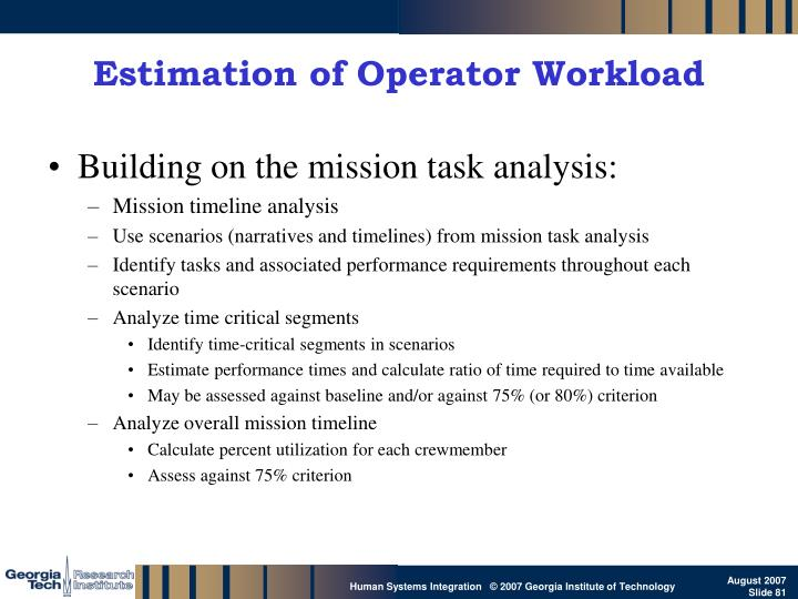 Estimation of Operator Workload
