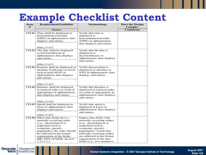 Example Checklist Content