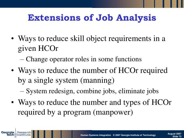 Extensions of Job Analysis