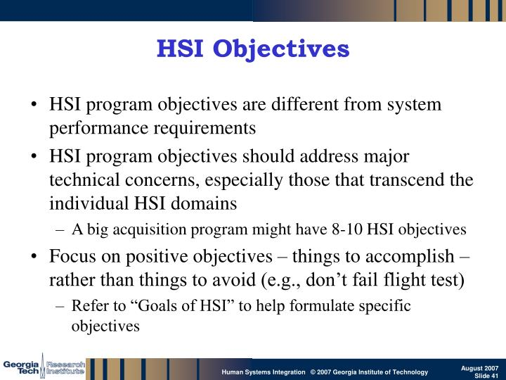 HSI Objectives