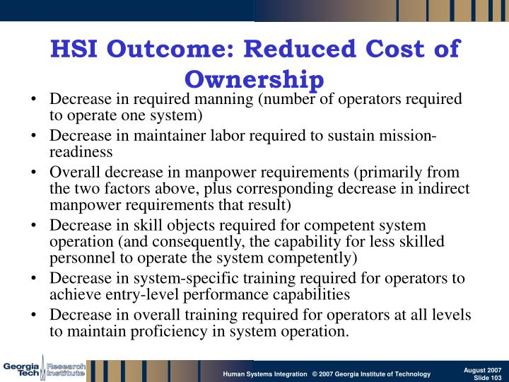 HSI Outcome: Reduced Cost of Ownership