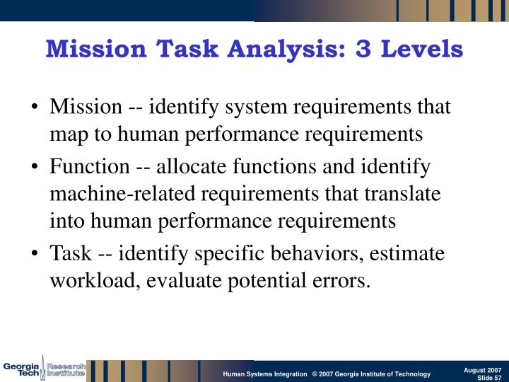 Mission Task Analysis: 3 Levels