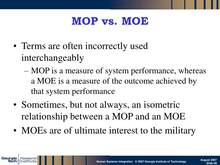 MOP vs. MOE