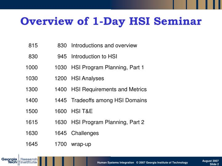 Overview of 1 day hsi seminar
