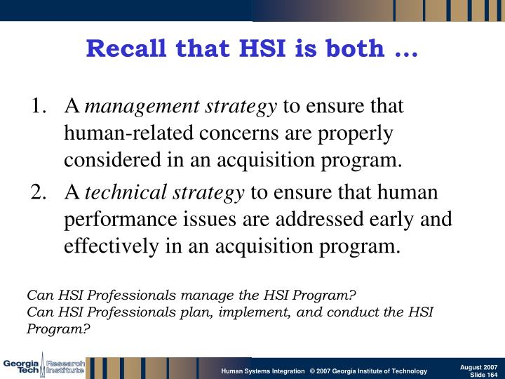 Recall that HSI is both …