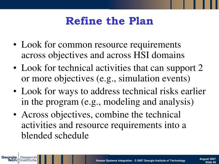 Refine the Plan
